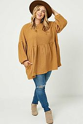 Plus Ribbed Knit Raglan Tunic