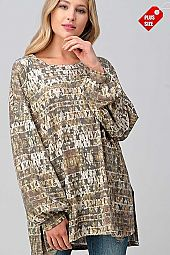 MULTI PRINT BUBBLE  SLEEVE SLIT SIDES TUNIC PLUS