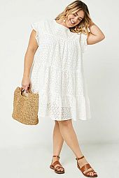 Plus Flutter Sleeve Tiered Eyelet Dress