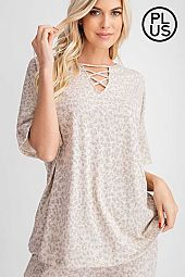 Plus Animal Printed Round Neck Lace Up Top