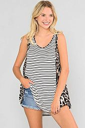 ANIMAL SIDE CONTRAST STRIPED SLEEVELESS TUNIC