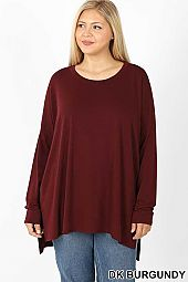 PLUS DOLMAN SLEEVE ROUND NECK SLIT HI-LOW HEM TOP