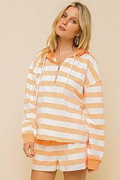 FRENCH TERRY STRIPE ZIPPER HOODIE PULLOVER
