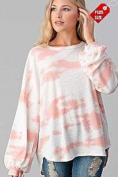 TIE DYE PUFF LONG SLEEVE TOP PLUS