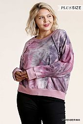 Tie Dye Round Neck Raw Edged Detail Top