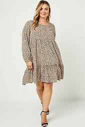 Plus Long Sleeve Tiered Buttoned Mini Dress