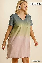Ombre Short Sleeve Chest Pocket Dress