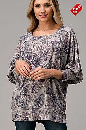 PAISLEY OPEN SLEEVE LOOSE TOP PLUS