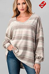STRIPE V-NECK PUFF SLEEVE TOP PLUS