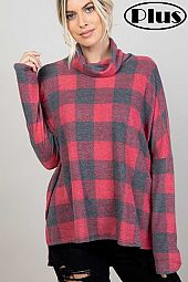 ANGORA PLAID TURTLE NECK SIDE SLIT BOXY PLUS TOP