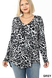 PLUS LUXE RAYON LEOPARD PRINT HI-LOW HEM TOP
