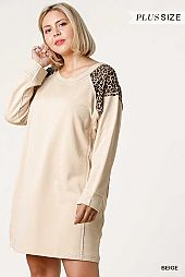 Animal Print Ribbed Round Neck and Long Sleeve Dress