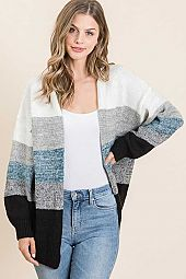MULTI STRIPE SWEATER OPEN CARDIGAN