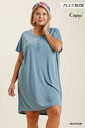 Cupro Button Front Round Neck Short Sleeve Dress