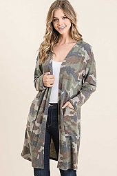 CAMO BRUSHED CASHMERE POCKET OPEN MIDI CARDIGAN