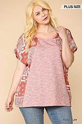 Printed Dolman Sleeves Tunic Knit Top