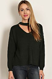 PEEP HOLE ACCENT SWEATER TOP
