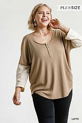 Ribbed Button Front Contrasted Long Sleeve Top