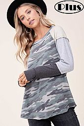 CAMOUFLAGE SOLID COLOR BLOCKED RAW EDGE PLUS TOP