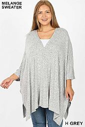 PLUS MELANGE SWEATER FABRIC OVERSIZE V-NECK PONCHO