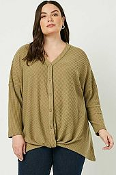 Plus Button Down Surplice Waffle Knit Top