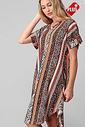 MULTI PRINT V-NECK ROUND BOTTOM DRESS PLUS