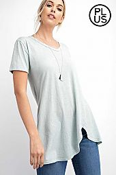Plus Mineral Wash Short Sleeve Top