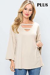 SOLID CUT OUT V NECK TOP