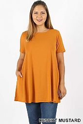 PLUS SHORT SLEEVE BOAT NECK FLARED TOP  POCKETS