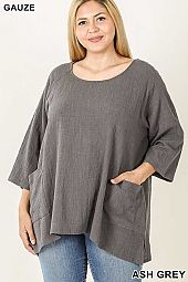 PLUS GAUZE TWO POCKETS HIGH LOW HEM TOP