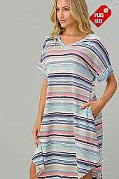 MULTI STRIPED V NECK SHORT SLEEVE DRESS PLUS