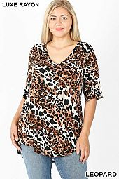 PLUS LUXE RAYON LEOPARD PRINT SHORT SLEEVE TOP