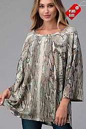 SNAKE SKIN BELL SLEEVE TOP PLUS