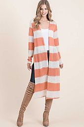 LOG KNIT SIDE SLIT LONG SLEEVE MIDI OPEN CARDIGAN