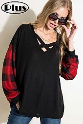 SOLID AND PLAID PRINT MIXED LACE UP V NECK TOP