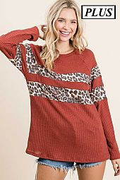 Plus Solid Waffle Leopard Contrast Top