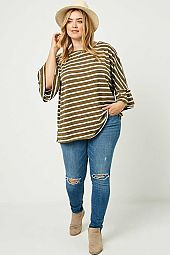 Plus Striped Knit Dolman Top