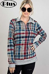 MELANGE PLAID MIXED ZIPPER UP TURTLE NK PLUS TOP