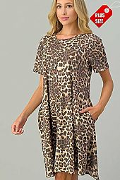 LEOPARD PRINT SHORT SLEEVE DRESS PLUS