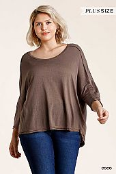 See Through Round Neck Panel Top