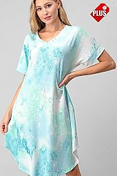 TIE DYE V-NECK ROUND BOTTOM DRESS PLUS
