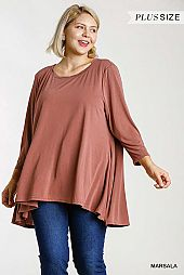 Cupro Round Twisted Neck 3/4 Sleeve Tunic