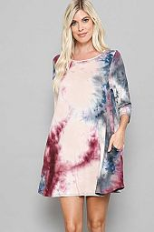 TIE DYE PRINT ROUND NECK DRESS