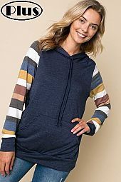 TERRY STRIPE SOLID MIX HOODIE SWEATSHIRT PLUS TOP