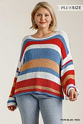 Stripe Round Neck Long Sleeve Knit Sweater