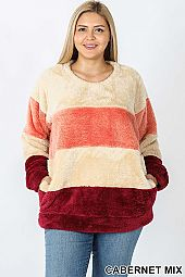 COLOR BLOCK ROUND NECK FAUX FUR PULLOVER