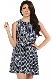 IKAT PRINT CONTRAST TRIM DRESS