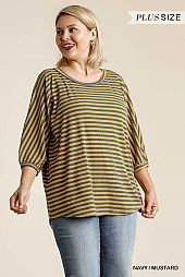 Striped Round Neck 3/4 Sleeve Ribbed Top