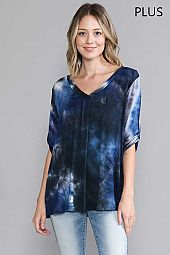 TIE DYE. BANDED V-NECK TOP