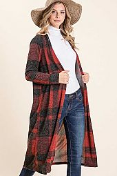 PLAID BRUSHED MIRR LONG SLEEVE OPEN MID CARDIGAN